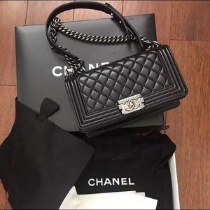 Black Lambskin Leather Chanel Le Boy Flapbag